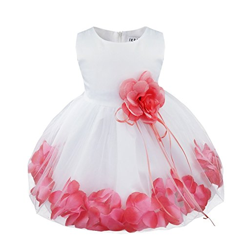 TIAOBU Baby Girls Flower Petals Tulle Formal Bridesmaid Wedding Party Dress Watermelon Red 12-18 Months