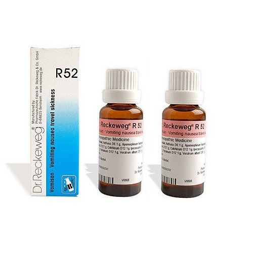 2 LOT X Dr. Reckeweg - Homeopathic Medicine - R52 Vomiting, Nausea and Travel Sickness