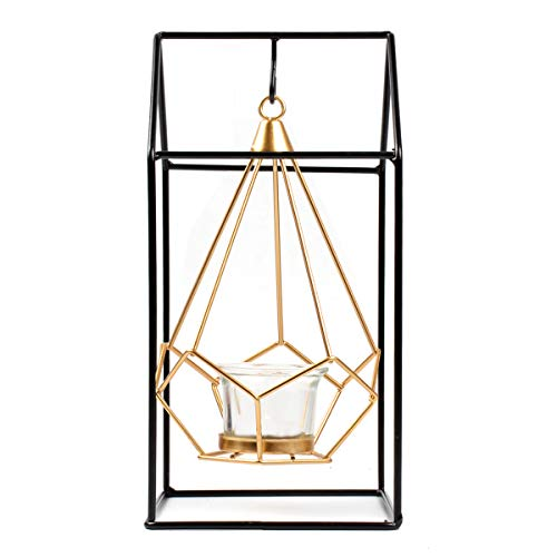 - Plaviya Christmas Candlestick Holders, Geometric Styling Hanging Candlestick Decoration Home Decoration Candle Holder Decoration (Gold Black)