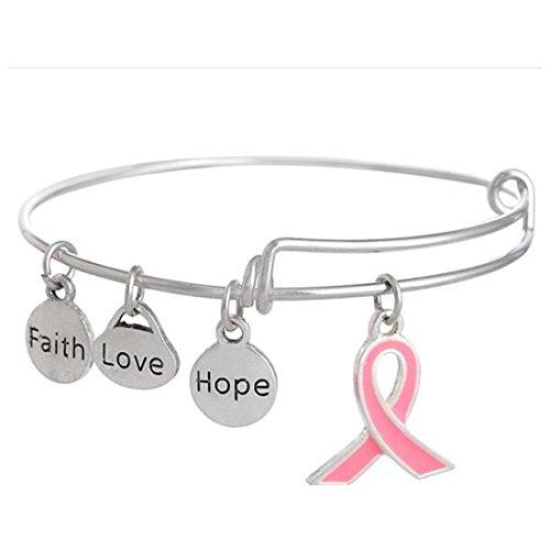 UNKE Charm Faith Hope Love Pendant Bracelet Adjustable Bangle Meaningful Gift