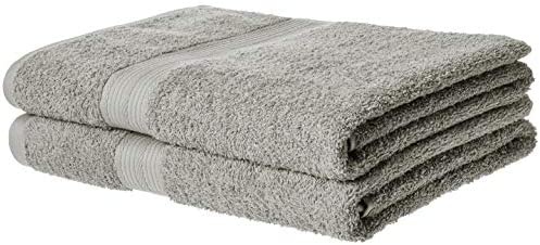 Amazon Basics Fade-Resistant Cotton Bath Towel - Pack of two, Grey
