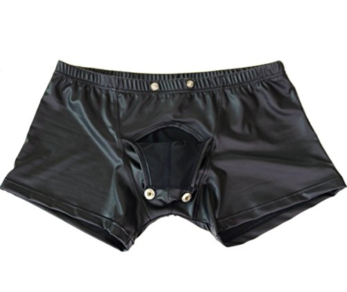MSemis Men's Faux Leather Lingerie Open Front Pouch Boxer Briefs Underwear with Press Button Black XX-Large (Waist 31.5