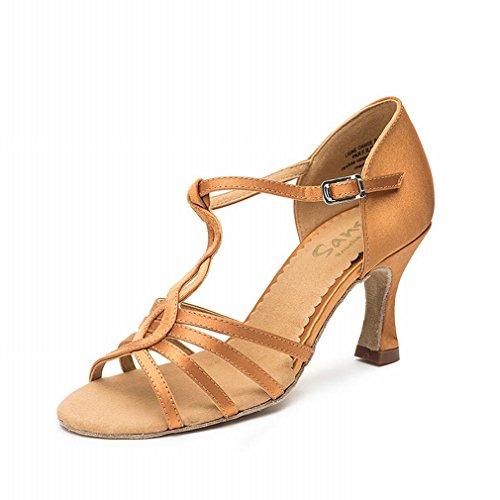de de Baile BYLE Zapatos de con Samba Satén Modern Zapatos Cuero Hembra Latino Jazz Baile Tobillo Adulta de Baile Onecolor Zapatos Sandalias de 55vxz8