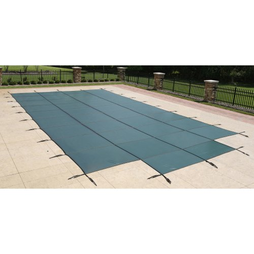 (Blue Wave 18-ft x 36-ft Rectangular In Ground Pool Safety Cover w/ 4-ft x 8-ft Center Step - Green)