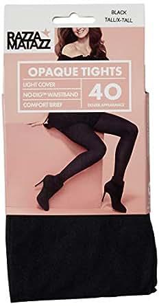 Razzamatazz Women's Pantyhose 40 Denier Comfort Brief Opaque Tights, Black, Tall/X-Tall
