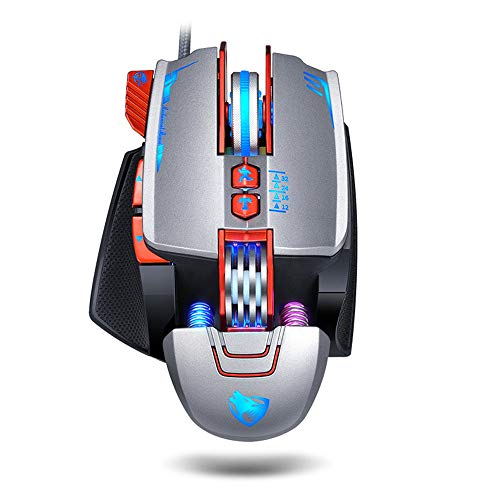 Lee Lam Gaming Mouse, Gaming Machinery Macro Definition Mechanical Mouse Suitable for A Variety of Games Sensitive and Comfortable,Silver
