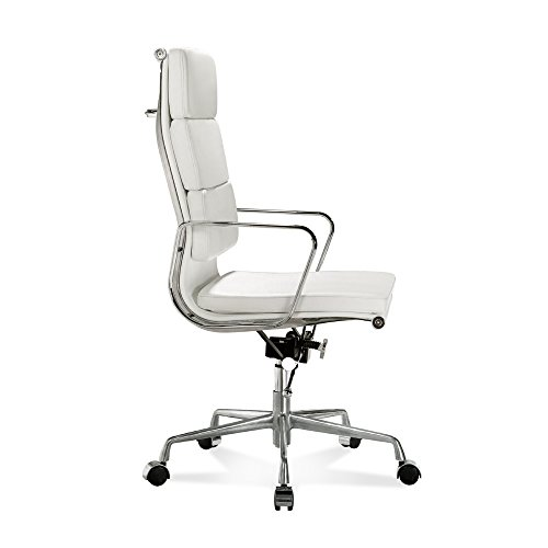 Italian Designer Chairs Office - LIVING TRENDS Soft Pad High Back Office Chair - Top Grain Italian Leather Aluminum Frame - White