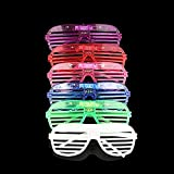 MLXR Reusable Glow in The Dark LED Glasses, 6pcs Unisex Plastic Neon Led Light Up Glasses, 6 Color Shutter Shapes Glasses for Adults and Kids Glow in The Dark Party Supplies