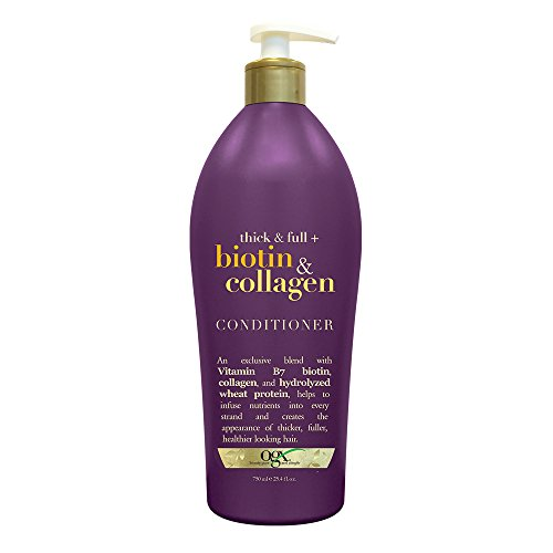 OGX Thick & Full Biotin & Collagen Conditioner, Salon Size 25.4 Ounce Bottle w/ Pump, Paraben Free Sulfate Free Sustainable Ingredients Nourishing and Strengthening