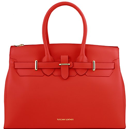 Tuscany Leather Elettra Leather handbag with golden hardware Red by Tuscany Leather