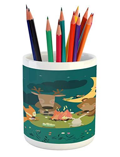 Ambesonne Animals Pencil Pen Holder, Animals Resting Around