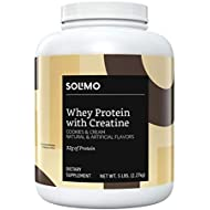 Amazon Brand - Solimo Whey Protein Powder with Creatine, Cookies & Cream, 5 Pound Value Size (44 Servings)