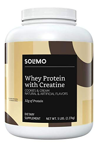 Amazon Brand - Solimo Whey Protein Powder with Creatine, Cookies & Cream, 5 Pound Value Size (44 Servings) (Best Protein And Creatine Supplement)