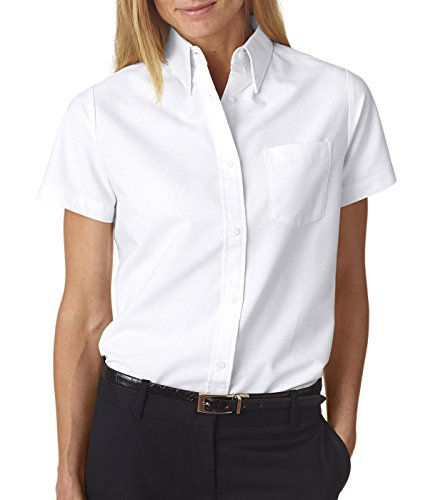UltraClub® Ladies' Classic Wrinkle-Free Short-Sleeve Oxford - White - M