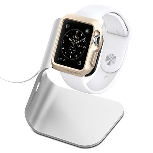 Apple Watch Stand Spigen [Charging Dock] Apple Watch Charging Stand [Apple Watch Stand] [S330] Aluminum build cradle holds Apple Watch - [Charging Cable & Watch Case & Watch NOT INCLUDED] Comfortable viewing angle easy use quick connection for Apple...