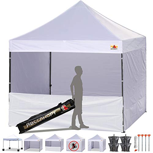ABCCANOPY 8 X 8 Ez Pop up Canopy Tent Commercial Instant Gazebos with 4 Removable Sides and Roller Bag and 4X Weight Bag