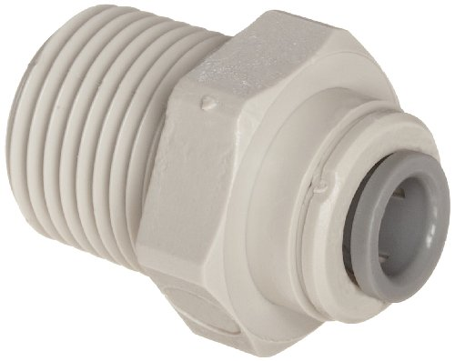 "John Guest Acetal Copolymer Tube Fitting, Straight Adaptor, 1/4"" Tube OD x 1/4"" NPTF Male (Pack of 10)"