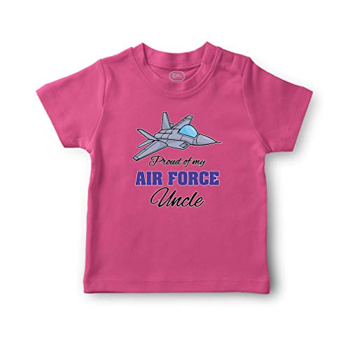 Cute Rascals Proud of My Air Force Uncle Short Sleeve Crewneck Toddler Boys-Girls Cotton T-Shirt Jersey - Hot Pink, 5/6T