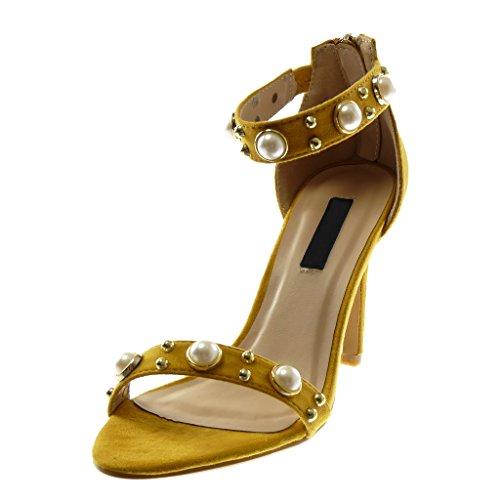 Angkorly 10 Cm Perla Correa Aguja Moda Mujer De Dorado Tobillo Tachonado Sandalias Alto Mostaza Stiletto Escarpín Zapatillas Tacón rZaBr