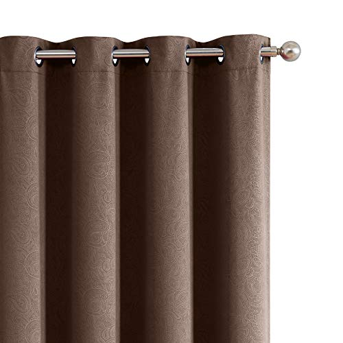 Suede Panel - ECODECOR Bedroom Blackout Curtain Panels 63 inch Brown for Bedroom Chocolate Paisley Embossed Window Treatment Energy Smart Short Window Drapes for Living Room 1 Pair