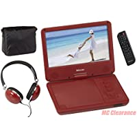 9 inch Portable DVD/CD Player with Swivel Screen and Fold, Rechargeable Battery, Remote Control, Travel Bag with Matching Color Headphones and AC/DC Adapter Encore DVD901RMO - Red