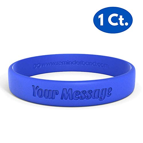 Reminderband Classic Custom 100% Silicone Wristband - Personalized Silicone Rubber Bracelet - Customized, Events, Gifts, Support, Causes, Fundraisers, Awareness - Men, Women, Kids -