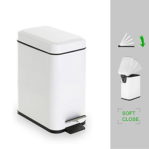 Soft Wastebasket - GiniHome Office Waste Bin, Small Trash Can for Kitchen & Bathroom, Waste Basket - Soft Close, Waterproof and Easy to Clean - 5 Liter/1.3 Gallon (White) Cuboid Step Trash Can with Lids