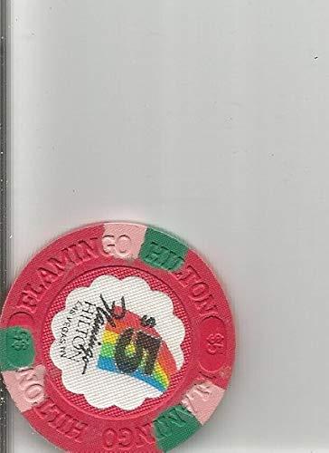 $5 flamingo hilton casino chip token las vegas nevada vintage 2 stripe