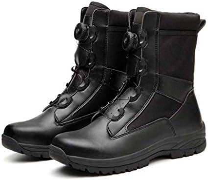 タクティカルブーツ防水レザー大ヘルプボタンスタイルの登山靴軽量の滑り止め耐摩耗クッションラバーソール (色 : 黒, サイズ : 24.5 CM)