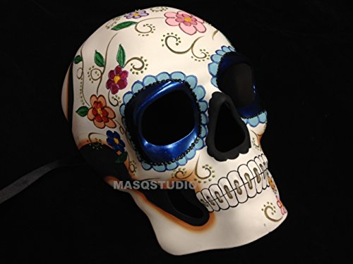 Halloween Masquerade skull Skeleton Mask Day of the Dead Wear or Deco (Blue Eyes)]()