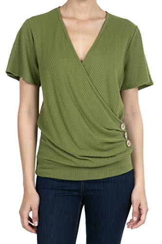 8074 Women's Deep V-Neck Short Sleeve Button Waffle Cross Wrap Tunic Tops Moss S
