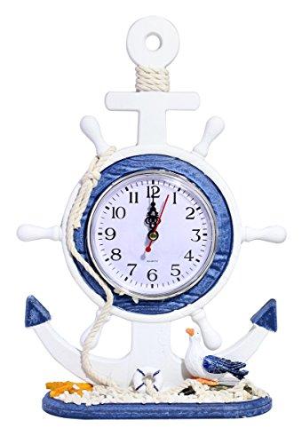 Ocean Nautical Style Beach Theme Table/Desk Clock - Helmsman Steering Anchor with Seagull
