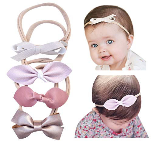 California Tot Baby Girls' Mixed Leather Bows - Soft & Stretchy Nylon Headbands for Newborn, Toddler Set of 4 (Serenity Set) ()