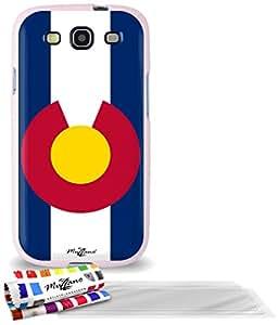 """Carcasa Flexible Ultra-Slim SAMSUNG GALAXY S3 / I9300 de exclusivo motivo [Bandera Colorado ] [Rosa] de MUZZANO  + 3 Pelliculas de Pantalla """"UltraClear"""" + ESTILETE y PAÑO MUZZANO REGALADOS - La Protección Antigolpes ULTIMA, ELEGANTE Y DURADERA para su SAMSUNG GALAXY S3 / I9300"""