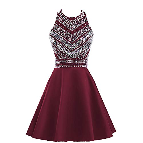 HEIMO Women#039s Sparkly Beaded Homecoming Dresses Sequined Prom Gowns Short H212 8 Burgundy