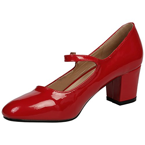 ByPublicDemand Xanthe Womens Mid Block Heel Mary Jane Smart Office Court Shoes Dark Red Patent 8Z1Rl