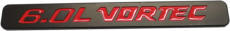 Chrome 2pcs 6.0L VORTEC Badge Emblems 3D Replacement for 1500 2500hd 3500hd GMC Silverado Sierra Truck