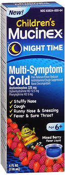 Mucinex Children's Night Time Multi-Symptom Cold Liquid Mixed Berry Flavor - 4 oz, Pack of 4