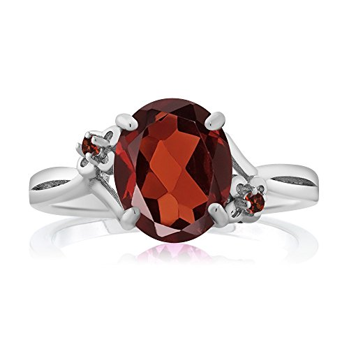 2.87 Ct Oval Red Garnet 14K White Gold Ring (Ring Size 8) by Gem Stone King (Image #1)