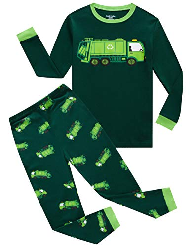 - Family Feeling Garbage Truck Big Boys Long Sleeve Pajamas 100% Cotton Pjs Kids Sleepwears Size 10