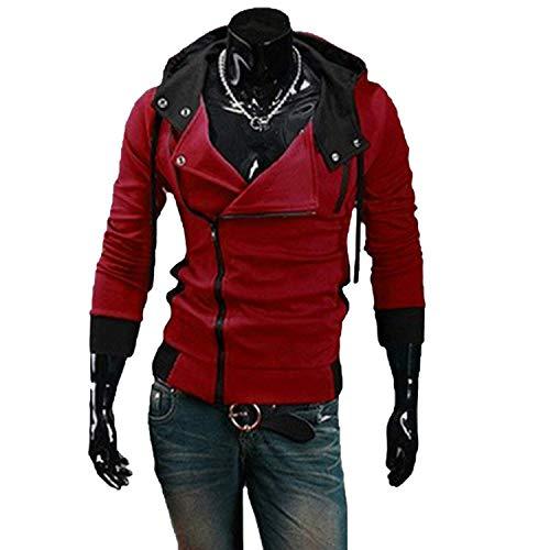 2018 Casual Cardigan Men Hoodie Sweatshirt Long Sleeved Slim Fit Male Zipper Hoodies Assassins Creed Jacket Plus Size M-6XL,XXXX-Large,Redwine ()