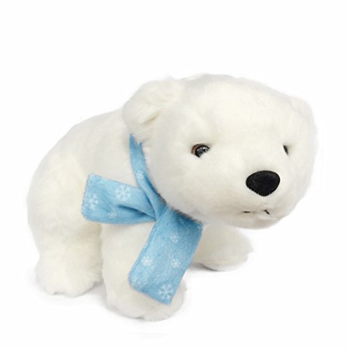 Stuffed Polar Bear With Snowflake Scarf Plush - Realistic Animal