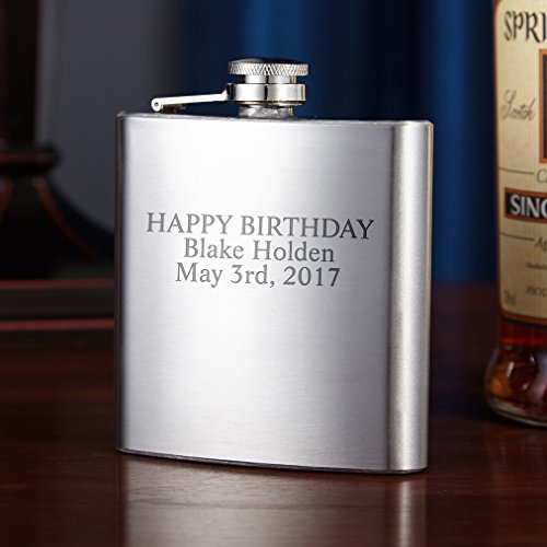Traditional Stainless Steel Flask, 6oz (Engravable) (Customizable (Engravable Flask)