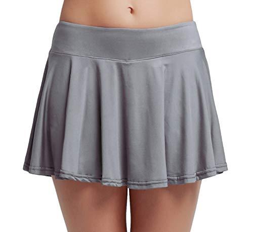 (HonourSport Women Club Stretchy Golf Skorts Pleated Cheerleader Skirt Grey XXL)