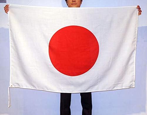 日本国旗・日の丸 日本製 エクスラン生地(丈夫なアクリル100%) H90×W135cm・左上下ハトメ紐付き