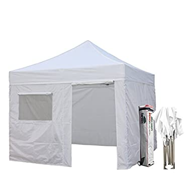 New Eurmax Basic 10x10 Ez Pop Up Canopy Outdoor canopy Instant Tent Package deal+4 Removable Zipper end Sidewalls+ Roller Bag (White)