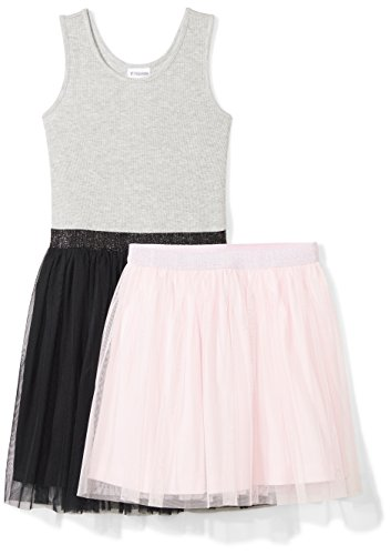 Spotted Zebra Little Girls' Tutu Tank Dress and Skirt Set, Black/Pink, Small (6-7) (Girls Zebra Dress)