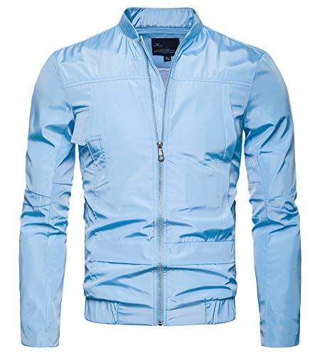 Hombre Impermeable Chaquetas Elástico Slim Sudaderas Collar Azul RrRvq
