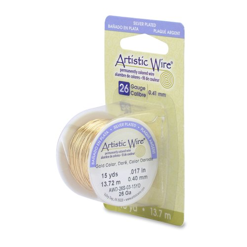 Artistic Wire 26-Gauge Silver Plated Gold Wire, 15-Yards