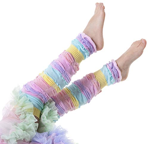 Huggalugs Girls Sherbet Stripe Legruffle Leg Warmers, Multi, Regular (fits to 8 years)